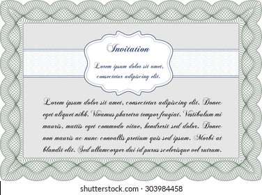 Vintage invitation. With complex linear background. Sophisticated design. Vector illustration.