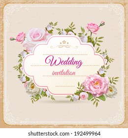 Vintage invitation with flowers in vector