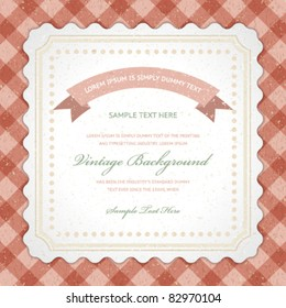 Vintage invitation greeting card with ornament and old textured pattern. Vector background Eps 10.