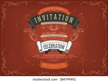 Vintage Invitation Poster Background/ Illustration of a vintage invitation placard poster for holidays and special events, with sketched banners, floral patterns, ribbons and grunge texture