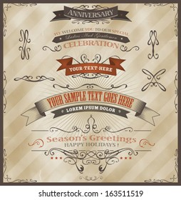 Vintage Invitation And Season's Greetings/ Illustration of vintage grunge banners and ribbons, for invitation documents, season's greetings, holidays celebration with sketched floral patterns