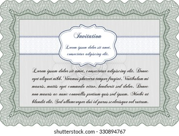 Vintage invitation template. Cordial design. With complex background. Vector illustration.
