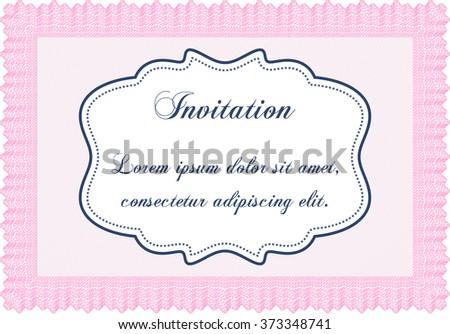 vintage invitation template guilloche pattern background stock