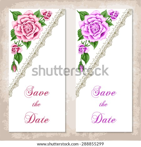 Vintage Invitation Template With Roses Shabby Chic Vector Illustration