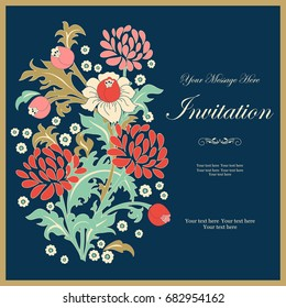 Vintage invitation or wedding card with colorful floral pattern in folk style. Hand drawn. Vector illustration