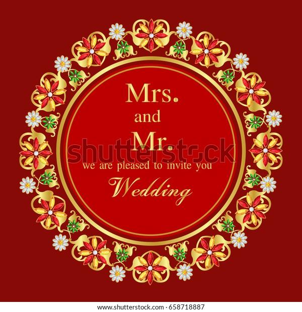 Vintage Invitation Wedding Cards Template Frame Stock Image