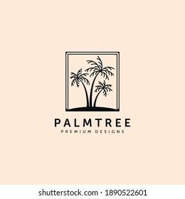 vintage island palm tree logo vector symbol illustration design