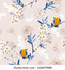 Vintage Japanese blooming flowers, branches, leaves and birds. Vector seamless pattern. Illustration for fabrics,and all prints on stylish beige color background