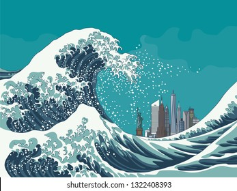 Vintage japanese engraving style great wave off New York City vector illustration