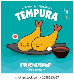 Vintage Japanese food poster design with vector tempura characters. Chinese word means sushi.