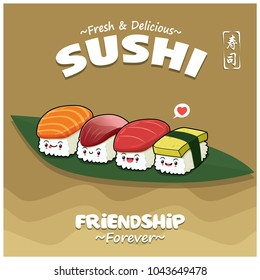 Vintage Japanese food poster design with vector Ebi, Sake, Maguro, Hokkigai sushi characters. Chinese word means sushi.