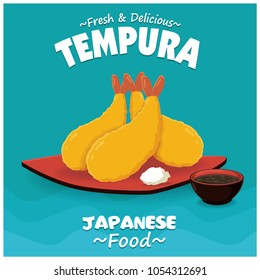 Vintage Japanese food poster design with vector tempura, shrimp.