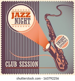 Vintage jazz poster. Vector illustration.