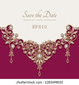 Vintage jewellery background with elegant gold decoration on white background, diamond jewelry necklace, vector save the date card or wedding invitation template with place for text