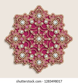 Vintage, jewellery mandala ornament, golden jewelry decoration with diamonds and ruby gemstones on white background, swirly vector round pattern, eps10