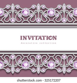 Vintage jewelry background, silver vector frame with jewellery seamless borders, eps10