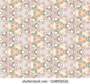 Vintage kaleidoscope abstract seamless pattern, background. Composed of colored geometric shapes. Useful as design element for texture and artistic compositions.