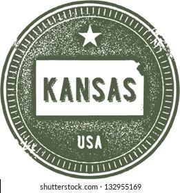 Vintage Kansas USA State Stamp