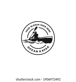 vintage kayak circle emblem logo, vector