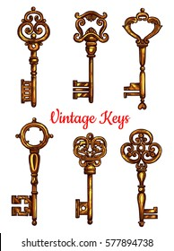 Vintage key isolated sketch set. Antique golden door key and skeleton, decorated by victorian flourishes and ornaments. Tattoo, jewelry and embellishment design