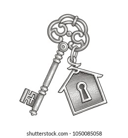 Vintage key with keychain. Hand drawn engraving style illustrations.