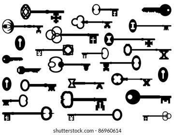 Vintage key silhouettes