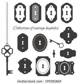Vintage keyholes and keys set.