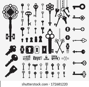 Vintage keys and keyholes. Collection of antique and modern padlocks. Vector illustration.