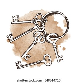 Vintage keys on ring over watercolor background. Isolated Vector illustration