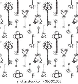Vintage keys. seamless pattern. Hand drawn illustration. antiques icon.