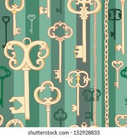 Vintage keys seamless pattern on green
