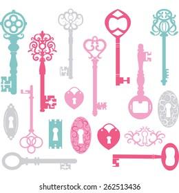 Vintage Keys Silhouette.Pink,Blue,Grey.