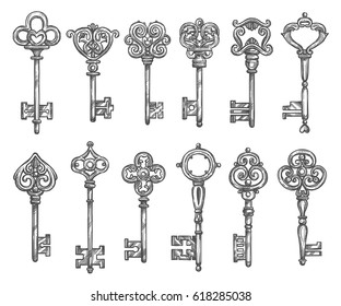 Vintage keys sketch icons. Vector set old brass or metal bronze forges lock keys from antique or medieval royal castle or fortress doors or gates with ornate or flourish bows and wards
