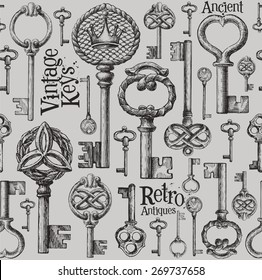 vintage keys vector logo design template. antiques or old thing icon.