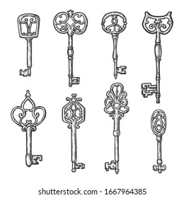 Vintage keys vector sketch with different ornament heads. Hand drawn sketch ancient Medieval keys of forged metal and filigree decoration, heraldic symbols and tattoo design