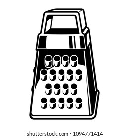 Vintage kitchen metal grater template in monochrome style isolated vector illustration