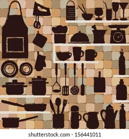 Vintage kitchen silhouette icons on tiled background