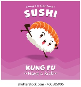 Vintage Kung Fu Sushi poster design with vector sushi character