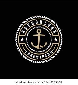 Vintage-Etikett mit Anker und Slogan, Vektorillustration, Ankersymbol auf schwarzem Hintergrund, Einfache Form für Design-Logo, Emblem, Symbol, Zeichen, Abzeichen, Etikett, Briefmarke, Bekleidung-T-Shirt-Design