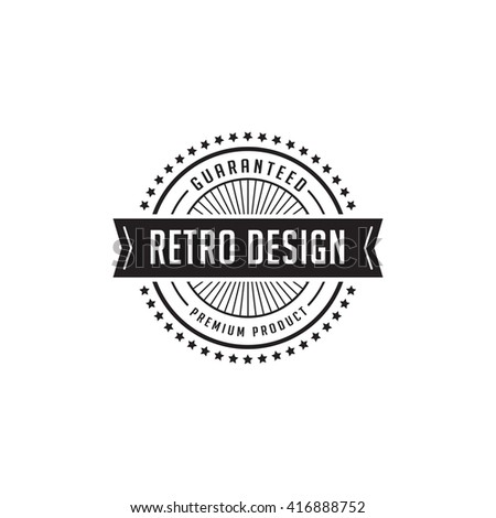 Vintage Label Badge Logo Design Vector Elements Template With Ribbon Shield Frame Luxury Retro Classic