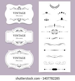 Vintage label banner badges set. Luxury decoration design. Vintage elements design.