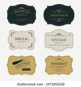 Vintage label banner badges set. Luxury decoration design. High quality tag premium guaranteed.