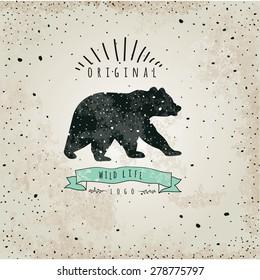 Vintage label bear. Design for T-Shirt. handmad illustration vector  label sketch bear.