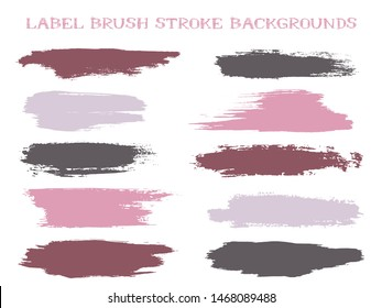 Vintage label brush stroke backgrounds, paint or ink smudges vector for tags and stamps design. Painted label backgrounds patch. Interior colors guide book elements. Ink smudges, stains, spots.