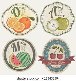 Vintage Label Collection with Fruit illustrations. Fruit label set in retro style. Orange, Apple, Cherries and Melon cartoon style illustrations.