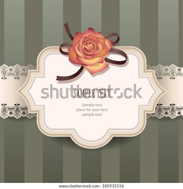 Vintage label with decorative rose for greeting design