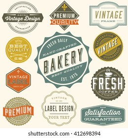 Vintage Label Design - Set of colorful vintage labels and design elements. Each design is grouped and colors are global for easy editing.