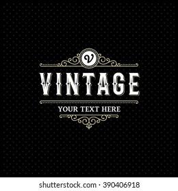 Vintage Label Design. Sign for Restaurant, Royalty, Jewelry, Boutique, Cafe, Hotel, Heraldic. Vector illustration.