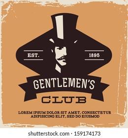 vintage label with gentleman (T-Shirt Print)