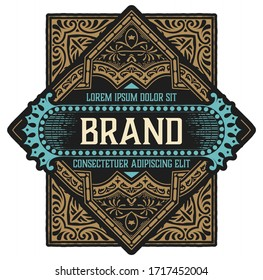 Etiqueta de cosecha con diseño de licor de ginebra